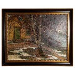 19th Century Large Swedish Oil Painting 'Barwinter', Gerda Wallander