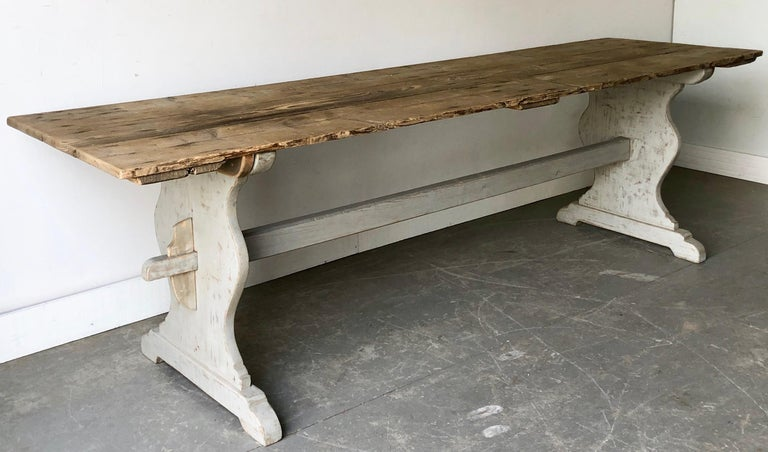 "Large 19th century Swedish trestle table in style in ""Allmogestil,"
