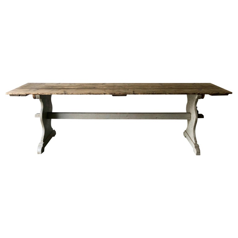 19th Century Large Swedish Trestle Table For Sale