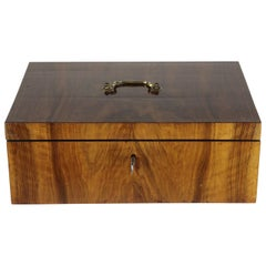19th Century Late Biedermeier Casket, Nutwood Veneer, Lockable, Brass Handle
