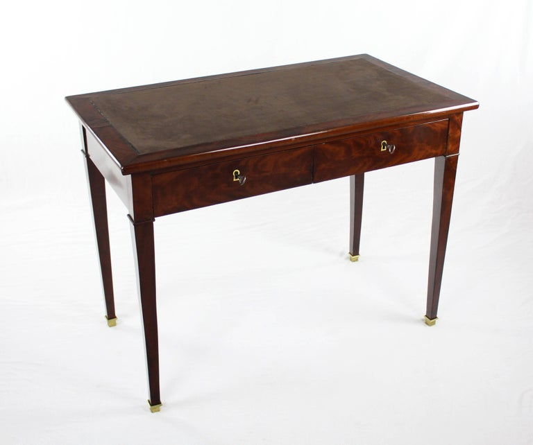 European 19th Century Late Biedermeier Period Writing Desk, Magogany on Oak, Red Brown For Sale