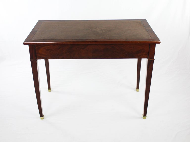 19th Century Late Biedermeier Period Writing Desk, Magogany on Oak, Red Brown In Good Condition For Sale In Muenster, NRW