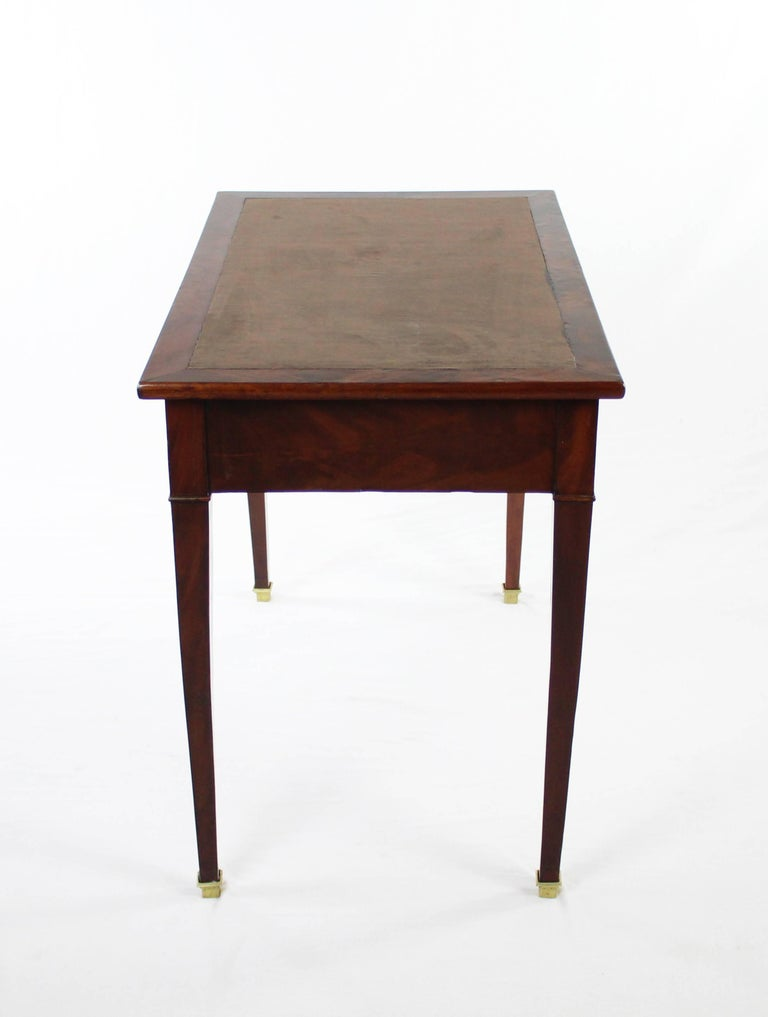 Mahogany 19th Century Late Biedermeier Period Writing Desk, Magogany on Oak, Red Brown For Sale