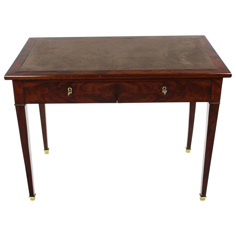 19th Century Late Biedermeier Period Writing Desk, Magogany on Oak, Red Brown For Sale