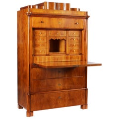 19th Century Late Biedermeier Secretaire, Yew, Cherry, Louis-Philippe circa 1850
