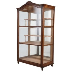 19th Century Late Biedermeier Walnut Display Cabinet / Vitrine