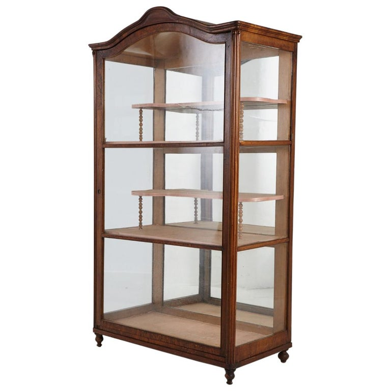 19th Century Late Biedermeier Walnut Display Cabinet / Vitrine