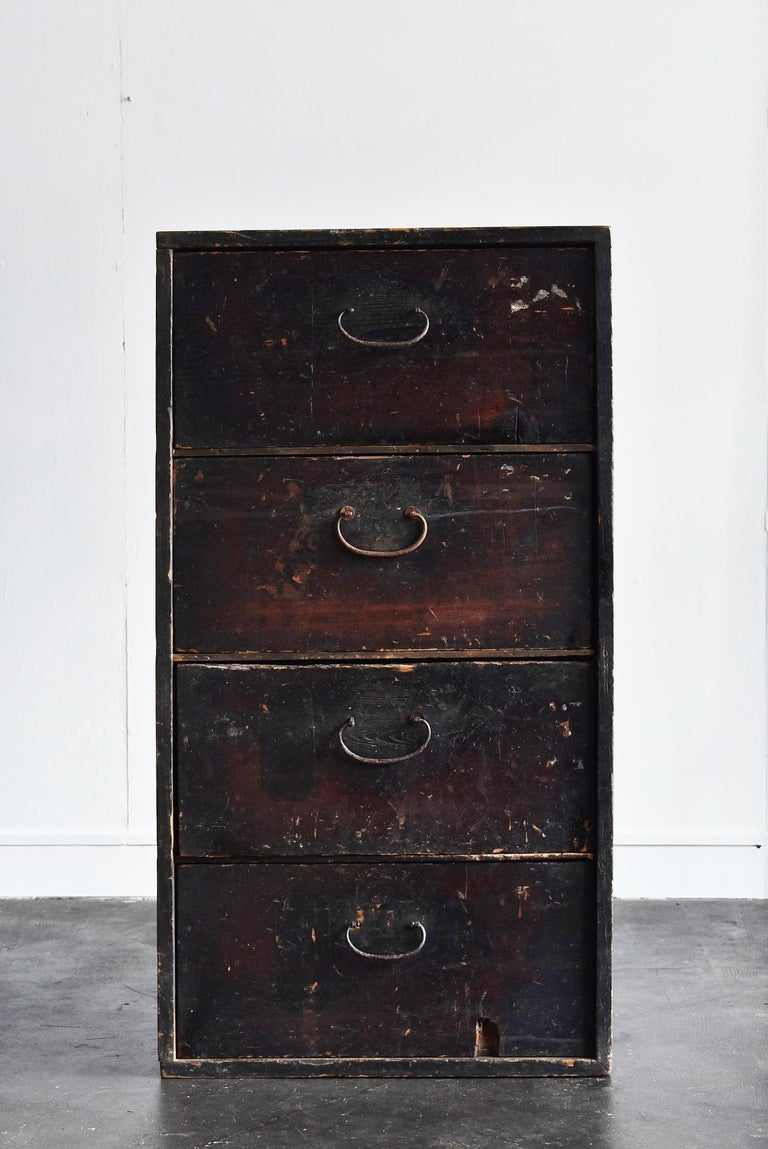 19th Century Late Edo Period Meiji Period Wood Black Drawer Chest / Tansu Chest For Sale 14