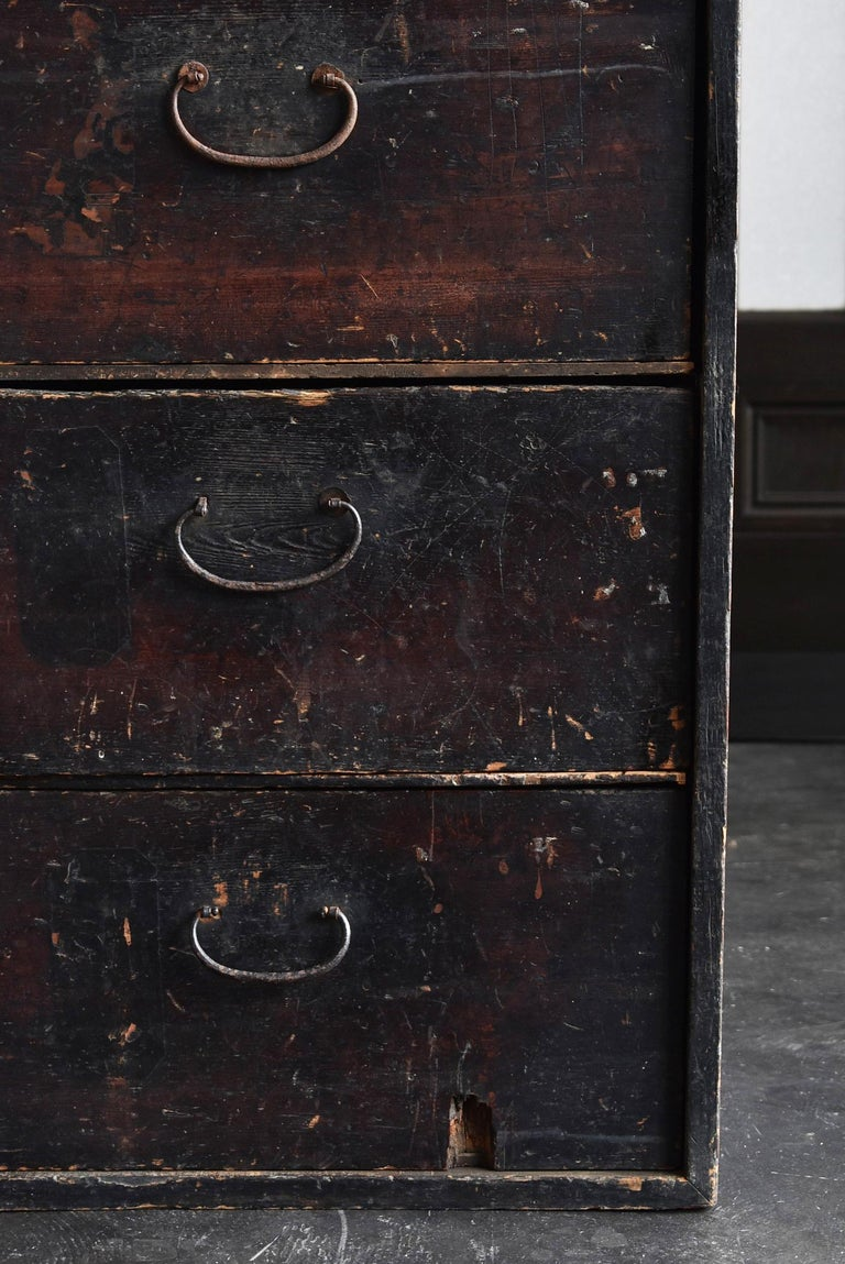 Woodwork 19th Century Late Edo Period Meiji Period Wood Black Drawer Chest / Tansu Chest For Sale