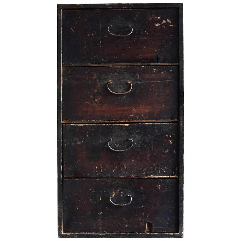 19th Century Late Edo Period Meiji Period Wood Black Drawer Chest / Tansu Chest For Sale