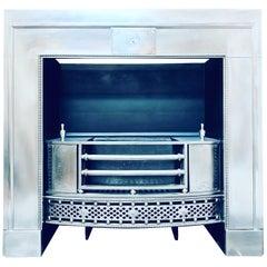 19th Century Late Georgian Polished Steel Register Fireplace Insert.