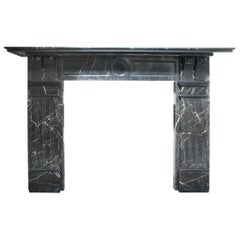 19th Century Late Victorian Black Marble Fire Surround