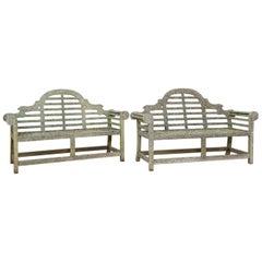 19th Century Late Victorian Pair of Teak Lutyens Benches