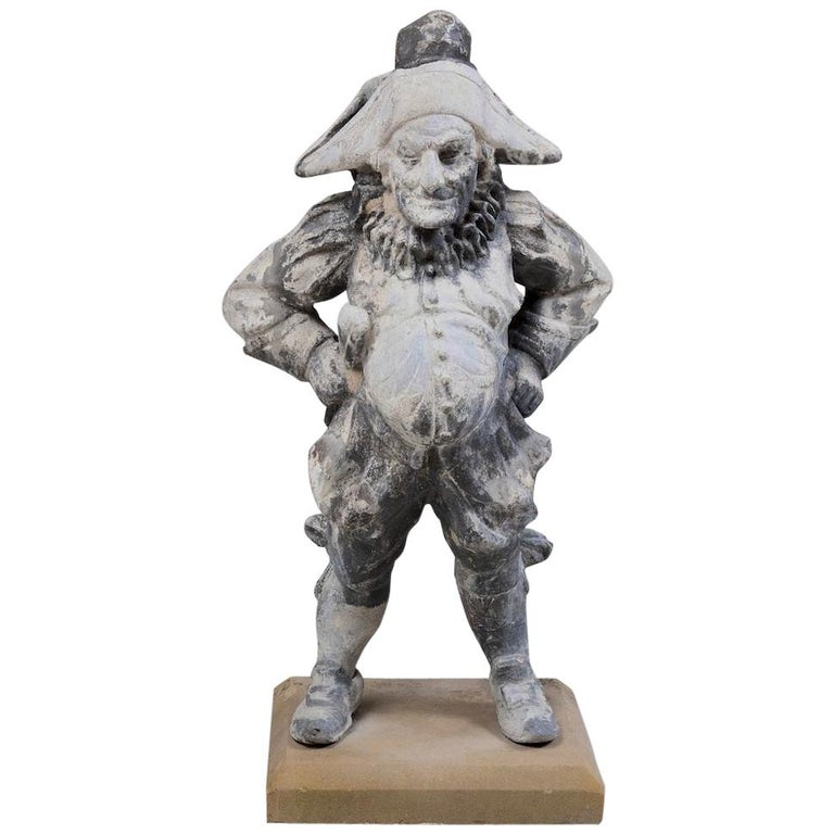 19th Century Lead Garden Statue of Punch For Sale