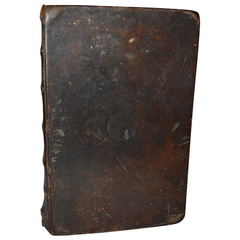 Rustic 19th Century Leather-Bound Swedish Bible Book For Sale