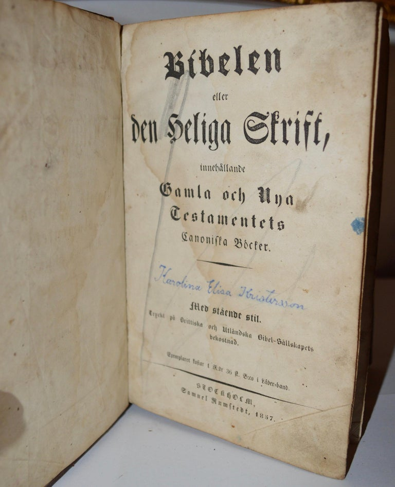19th Century Leather-Bound Swedish Bible Book For Sale 1