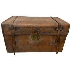 19th Century Leather and Brass Tack Steamer Trunk, circa 1880s