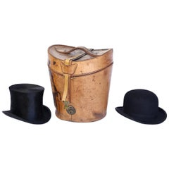 19th Century Leather Hat Box Containing Two Men's Hats