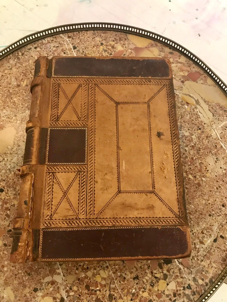 American 19th Century Leather Ledger Book For Sale