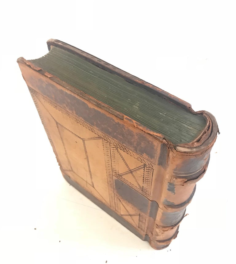 19th Century Leather Ledger Book In Fair Condition For Sale In Charlottesville, VA