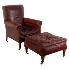 19th Century English Leather Library Armchair and Footstool