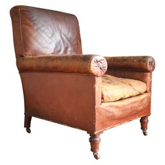 19th Century Leather Library Chair