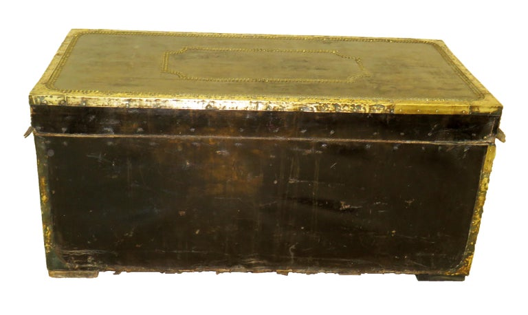 Victorian 19th Century Leather Military Campaign Trunk For Sale