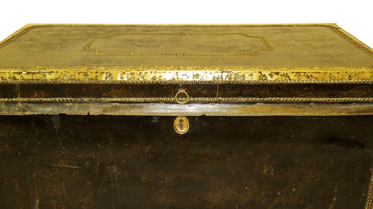 Brass 19th Century Leather Military Campaign Trunk For Sale