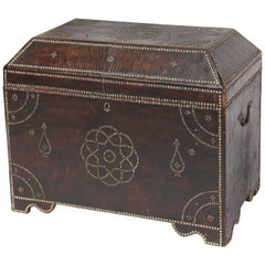 19th Century Leather Studded Trunk