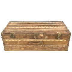 19th Century Leather Wrapped Sea Carriage Trunk from Paris