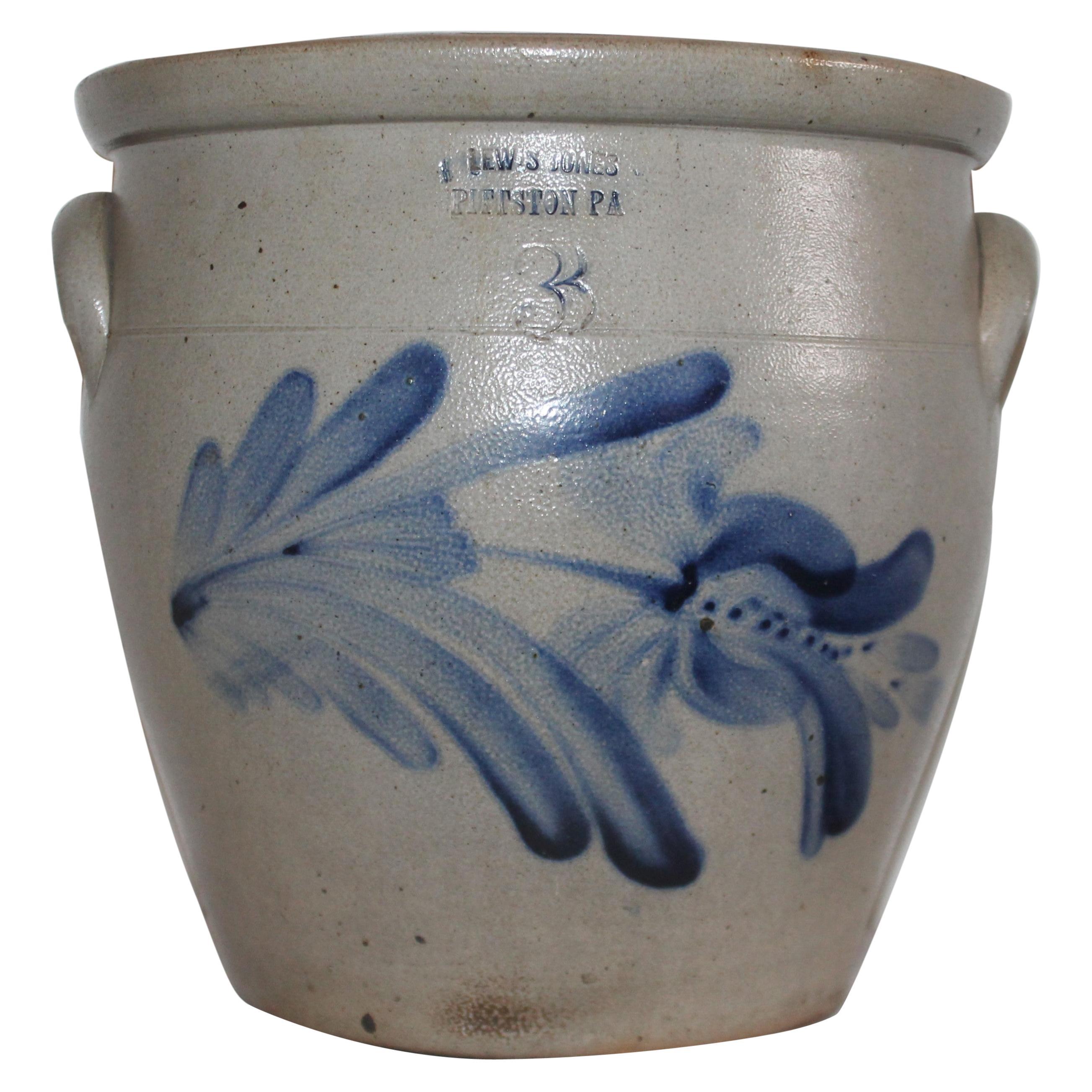 19th Century Lewis Jones Pittston Cobalt Blue Decorated Crock