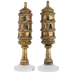 19th Century Libyan Wooden Torah Finials
