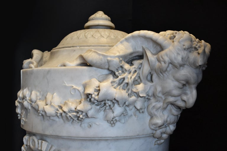 Classical Roman 19th Century Lidded Compana Urn Hand Carved in Carrara Marble For Sale
