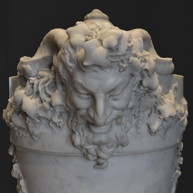 19th Century Lidded Compana Urn Hand Carved in Carrara Marble For Sale 1