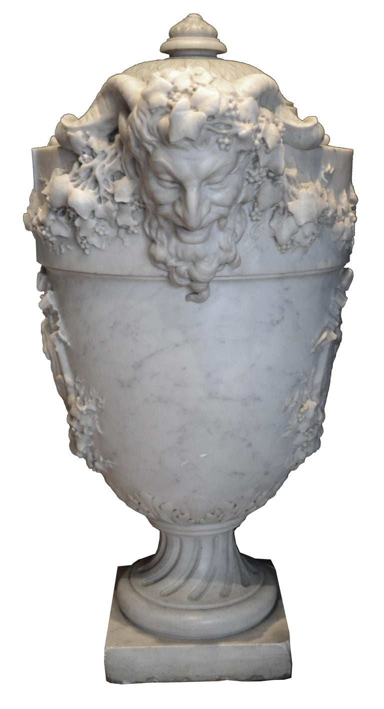19th Century Lidded Compana Urn Hand Carved in Carrara Marble For Sale 2
