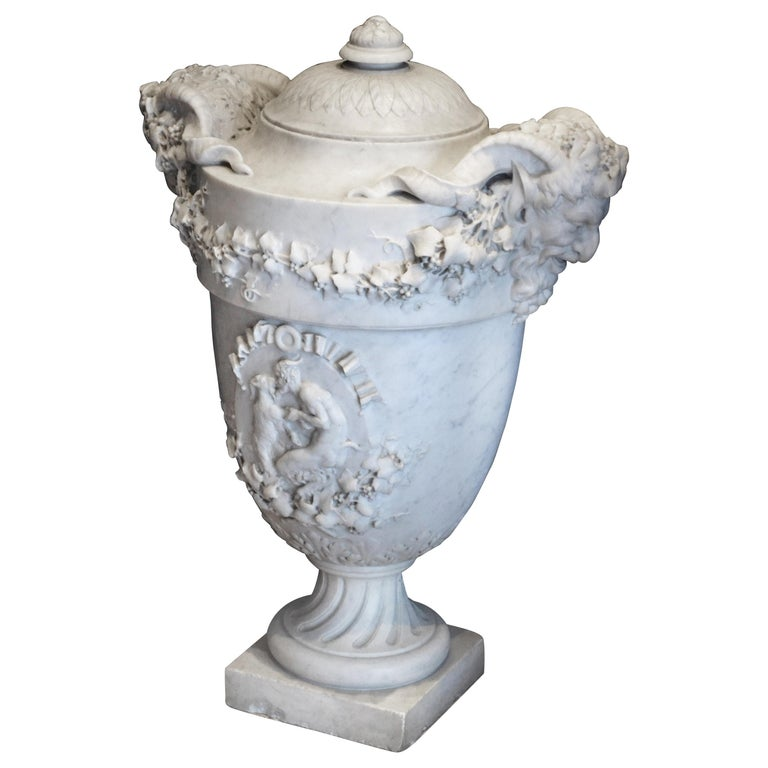 19th Century Lidded Compana Urn Hand Carved in Carrara Marble For Sale
