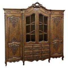 19th Century Liegoise Triple Bookcase ~ Linen Press ~ Wardrobe
