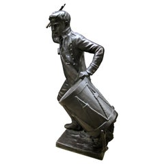 19th Century Life-Size Bronze of a Drummer Boy by Léon Fagel and Amleto Cataldi