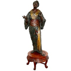 19th Century Life-Size Bronzed Japanese Lady in a Kimono, after Louis Hottot