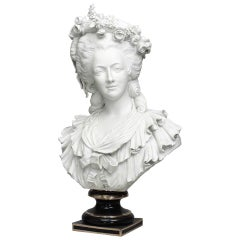 19th Century Life-Sized Porcelain Bust of a French Noblewoman