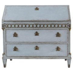 19th Century Light-Blue Swedish Gustavian Bureau, Pinewood Writing Table, Desk