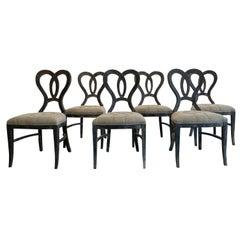 19th Century Light-Brown Set of Six Italian Walnut Dining Chairs