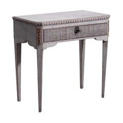 19th Century Light-Grey Swedish Gustavian Pinewood, Bronze Console Table
