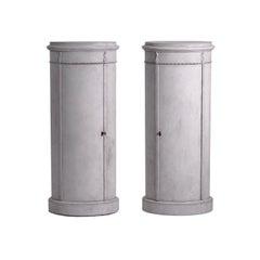 19th Century Light-Grey Swedish Gustavian Pinewood, Chrome Pedestal Cabinets