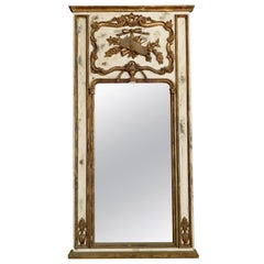 19th Century Light-White French Gilded Wood Wall Mirror