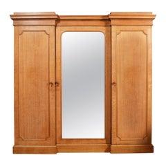 19th Century Limed Oak Triple Wardrobe Compactum