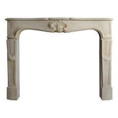 19th Century Limestone French Mantelpiece in the Louis XV Style