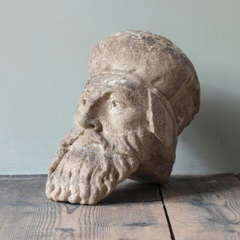 Neoclassical 19th Century Limestone Head Sculpture For Sale