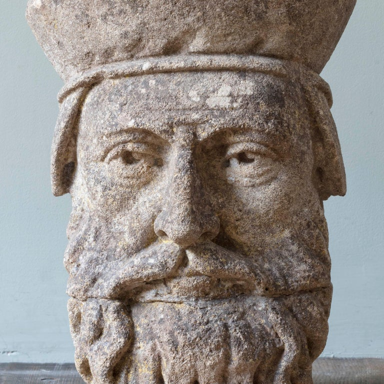 Carved 19th Century Limestone Head Sculpture For Sale