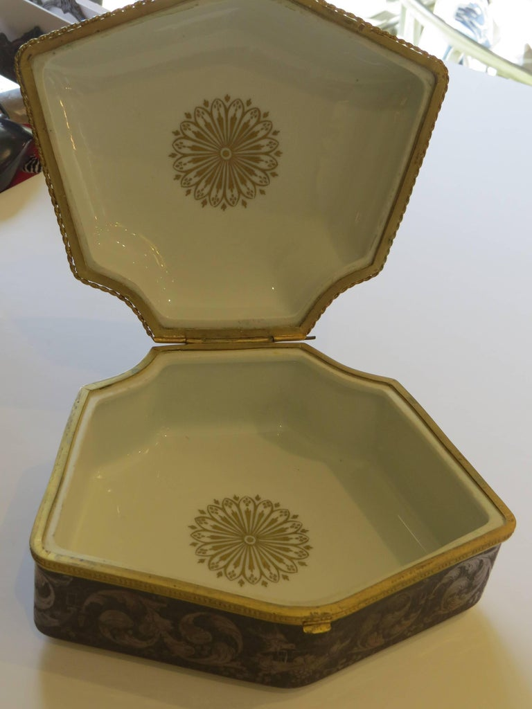 French 19th Century Limoges, Hand-Painted, Porcelain Box For Sale